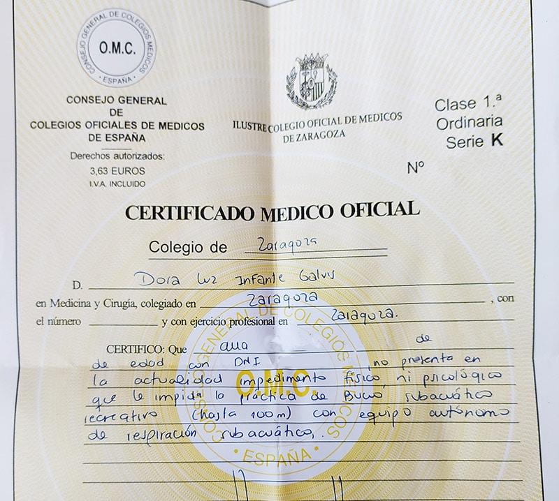 certificado medico de buceo