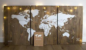 cuadro mapamundi madera