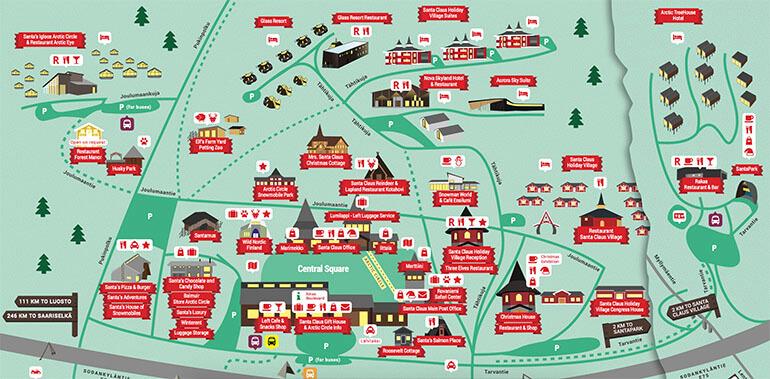 Mapa de Santa Claus Village en Rovaniemi